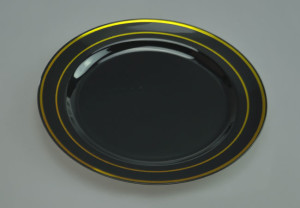 Heavy Weight Black Plastic Plate with Golden Bands & wholesale 10 1/4