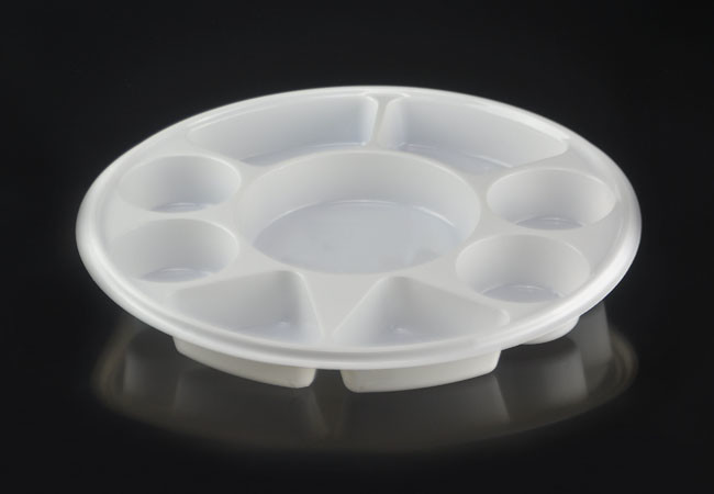 Large 9 Compartment Round Disposable Plastic Plate-APY91 & large round disposable plastic plate with 9 compartments plastic ...