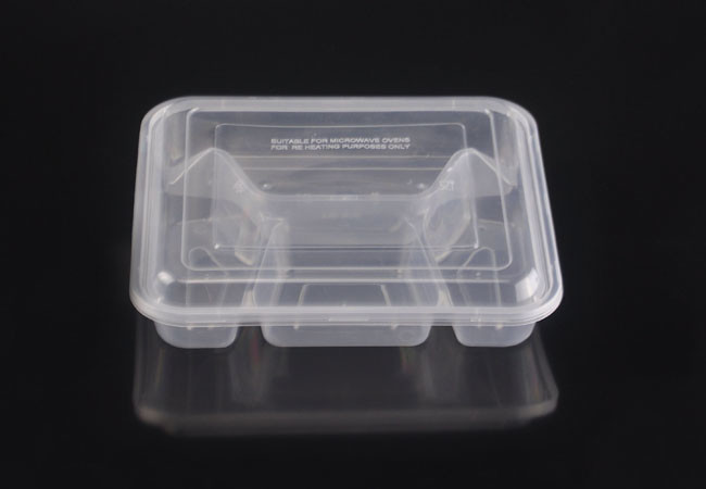 Microwavable Plastic 4 Compartment Container With Lid Arc41