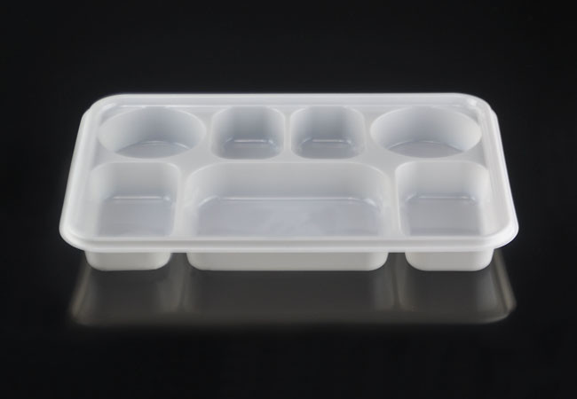 Large 7 Compartment Rectangular Disposable Plastic Plate