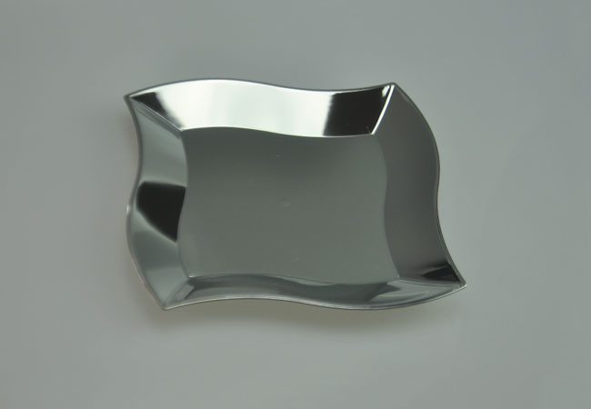 Wholesale 7 Quot Elegant Wave Square Silver Heavy Weight Disposable Plastic Dessert Plate Plastic
